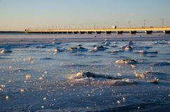 Icescape by the bridge Stock Image