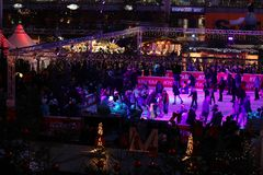 Iceskaters, Christmas Market in Munich Airport, Germany royalty free stock image
