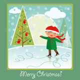 Iceskating card. Merry Christmas card: cute boy skating on the rink, smiling and having fun Royalty Free Stock Image