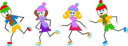 iceskating dzieci royalty ilustracja