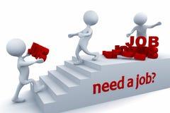 Ich benötige einen Job? Ein Kerl geben anderen einen Job teamwork Stockbild