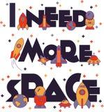 Ich benötige mehr Raum Flache Illustration typografisch Stockfoto