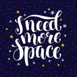 Ich benötige mehr Raum, Hand schriftliches inspirierend Zitat des Introvertierten Stockfoto
