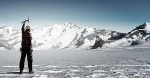 Ich habe schließlich den Gipfel erreicht! Stockfoto