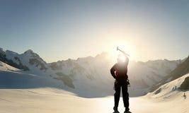 Ich habe schließlich den Gipfel erreicht! Stockfotografie