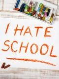 Ich hasse Schule stockfoto