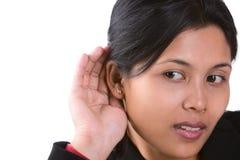 Ich kann nicht hören, was Sie sagen Lizenzfreie Stockbilder