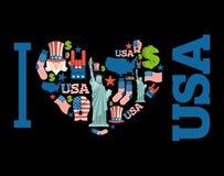 Ich liebe Amerika Zeichenherz von USA-traditionellen Volkscharakteren Stockbild