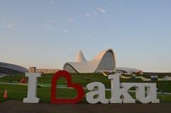 Ich liebe Baku Heydar Aliyev Center in Baku, Aserbaidschan stockbild