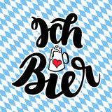 Ich liebe Bier. I love Beer. Traditional German Oktoberfest bier festival. Vector hand-drawn brush lettering. Illustration on bayern background Stock Image