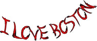 Ich liebe Boston-Textzeichenillustration Lizenzfreies Stockbild