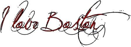 Ich liebe Boston-Textzeichenillustration Stockbild
