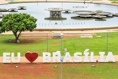 Ich liebe Brasilien unterzeichne herein Brasilien, Hauptstadt von Brasilien Lizenzfreie Stockfotografie