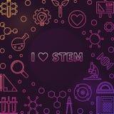 Ich liebe bunten Entwurfsrahmen oder -illustration des STAMM-Vektors vektor abbildung