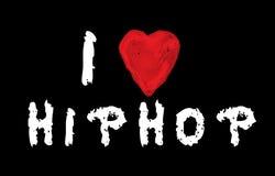Ich liebe das Hip-Hop, das auf blackbord handgeschrieben ist Stockfotografie