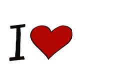 Ich liebe? das schöne junge Brunettemädchen, welches das große rote Innere anhält, getrennt auf weißem Hintergrund Stockfoto