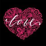 Ich liebe dich übergeben Sie gezogene Kalligraphie und bürsten Sie Stiftbeschriftung mit Blumenstrudel des rosa Herzens Design fü Lizenzfreies Stockbild