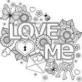 Ich liebe dich Abstrakter Hintergrund gemacht von den Blumen, Schlüssel und Standort, Schmetterlinge und die Wortliebe Stockfoto