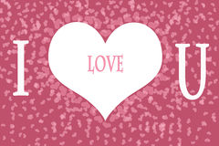 Ich liebe dich auf rosa Herz-Muster-Hintergrund lizenzfreie stockbilder