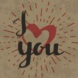 Ich liebe dich Aufschrift auf Retro- Hintergrund Stockbilder