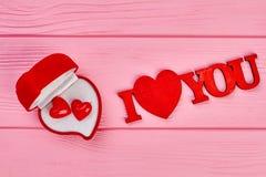 Ich liebe dich Aufschrift, Draufsicht Stockbild