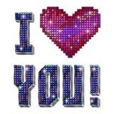 Ich liebe dich - Aufschrift lokalisiert auf dem Weiß Lizenzfreies Stockbild