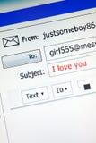?Ich liebe dich? eMail, vertikal Stockfotografie