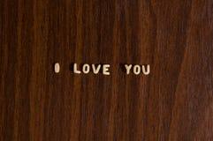 ?Ich liebe dich? gebildet von den Teigwaren Lizenzfreie Stockfotografie