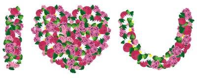 Ich liebe dich gemacht vom Herzen und von der Blume Stockbild