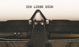 Ich liebe Dich, German text for I Love You on vintage type write Stock Photography