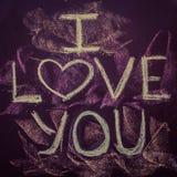 Ich liebe dich geschrieben auf das Kreidebrett Stockfoto