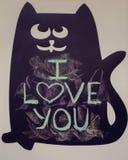 Ich liebe dich geschrieben auf die Tafel Stockbild