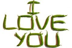 Ich liebe dich geschrieben von den Erbsen lizenzfreies stockbild