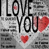 Ich liebe dich [graues Grunge] Stockbild