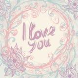 Ich liebe dich Gruß-Kartenschablone in der Weinlese Handbeschriftung - Lizenzfreies Stockfoto