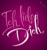 ICH LIEBE DICH hand lettering (vector) Royalty Free Stock Photo