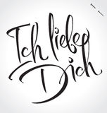 ICH LIEBE DICH hand lettering (vector) Royalty Free Stock Images
