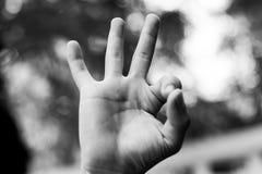Ich liebe dich Handzeichen, Unterzeichnung Stockfoto