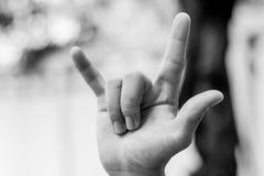 Ich liebe dich Handzeichen, Unterzeichnung Lizenzfreie Stockbilder