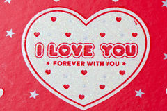 Ich liebe dich im weißen Inneren Stockbilder