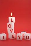 Ich liebe dich Kerzen Stockfotos