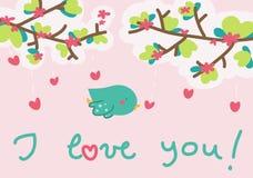 Ich liebe dich kleine Vogelkarte Stockfoto