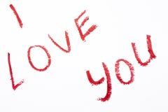 Ich liebe dich Lippenstift gemalt auf weißem Hintergrund Stockfotos