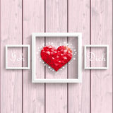 Ich Liebe Dich Low Poly Heart Pink Wood Frames Royalty Free Stock Image