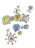 Ich liebe dich mit Buchstaben bezeichnend Lizenzfreies Stockfoto