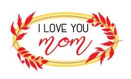 Ich liebe dich Muttertextdesign in der realistischen Rahmenart für glückliche Tagesfeier der Mutter-s Vektorillustration für den  Lizenzfreie Stockfotografie