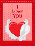 Ich liebe dich Plakat mit den Tauben, die rotes Herz betrachten vektor abbildung