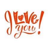 Ich liebe dich Reizende Valentinsgrußtageskarte mit korallenroter Beschriftung des Lebens Farb Hand skizzierte Liebestext als Fir vektor abbildung