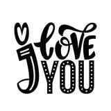 Ich liebe dich Reizende Valentinsgrußtageskarte mit schwarzer Farbbeschriftung Hand skizzierte Liebestext als Firmenzeichen, Ausw stock abbildung