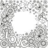 Ich liebe dich Runderer Rahmen gemacht von den Blumen, von den Schmetterlingen, vom Vogelküssen und von der Wortliebe vektor abbildung